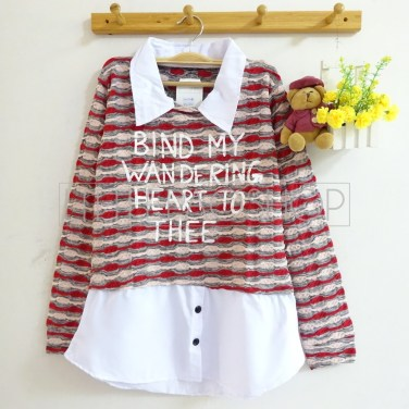 Wandering Heart Collar Top (cream) - ecer@75rb - seri3w 210rb - rajut unik - fit to L