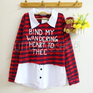 Wandering Heart Collar Top (red) - ecer@75rb - seri3w 210rb - rajut unik - fit to L