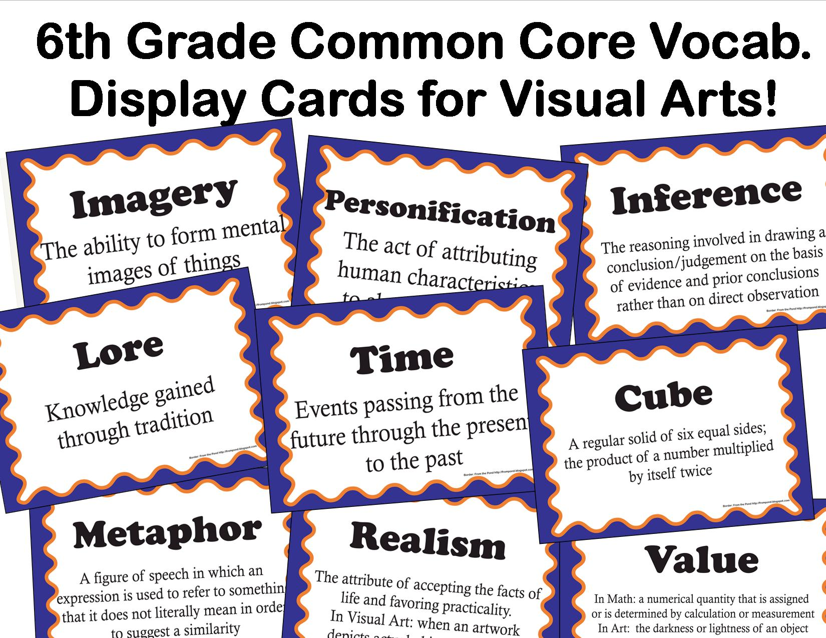 The Smartteacher Resource Common Core Language Arts Vocabulary For Visual Arts For 6th Grade