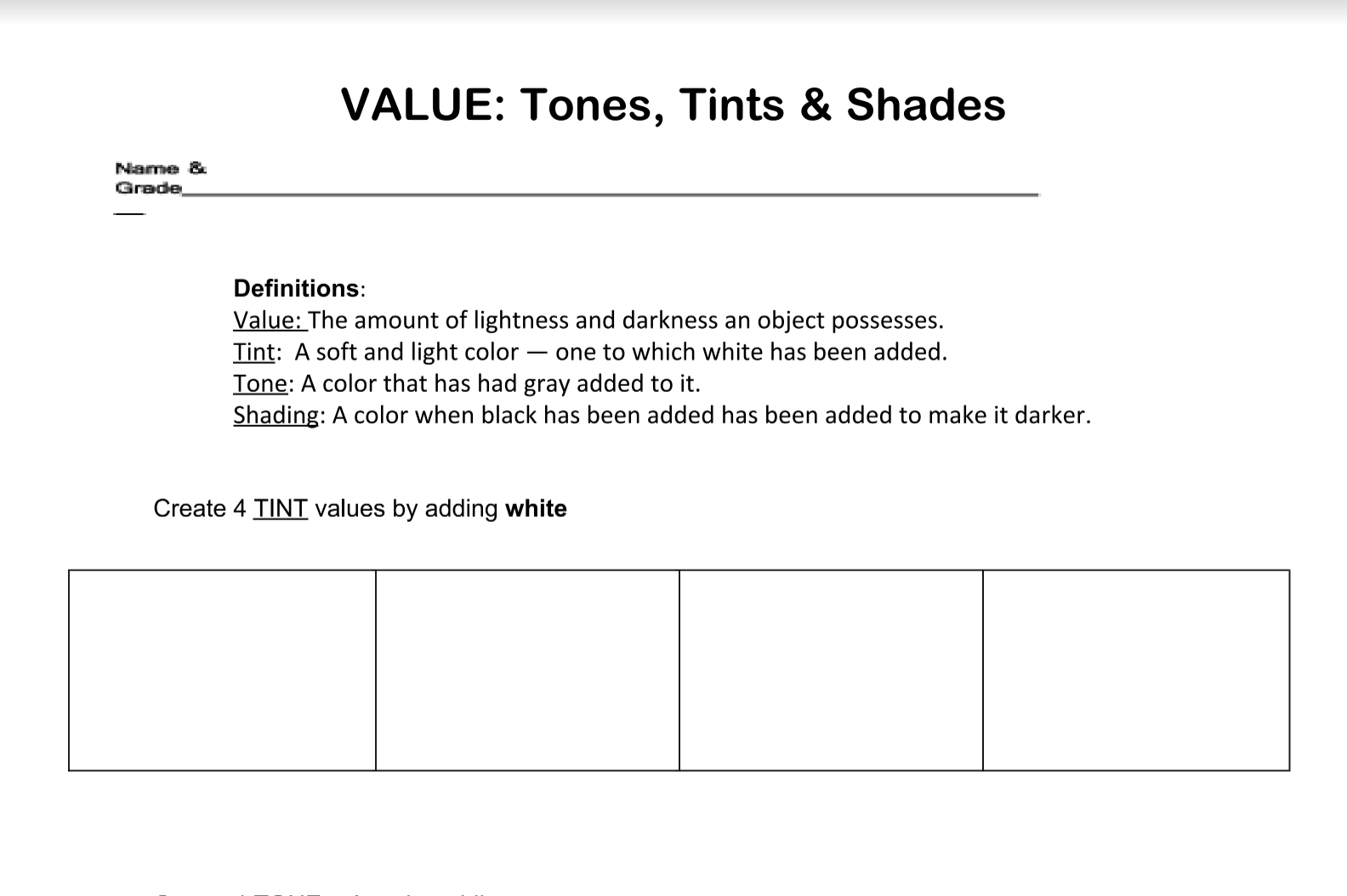 The Smartteacher Resource Value Tones Tints Amp Shades