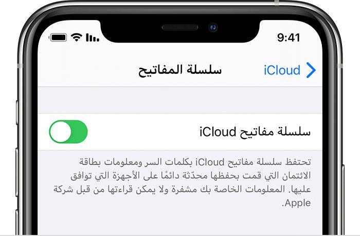 إعداد سلسلة مفاتيح Icloud Apple الدعم