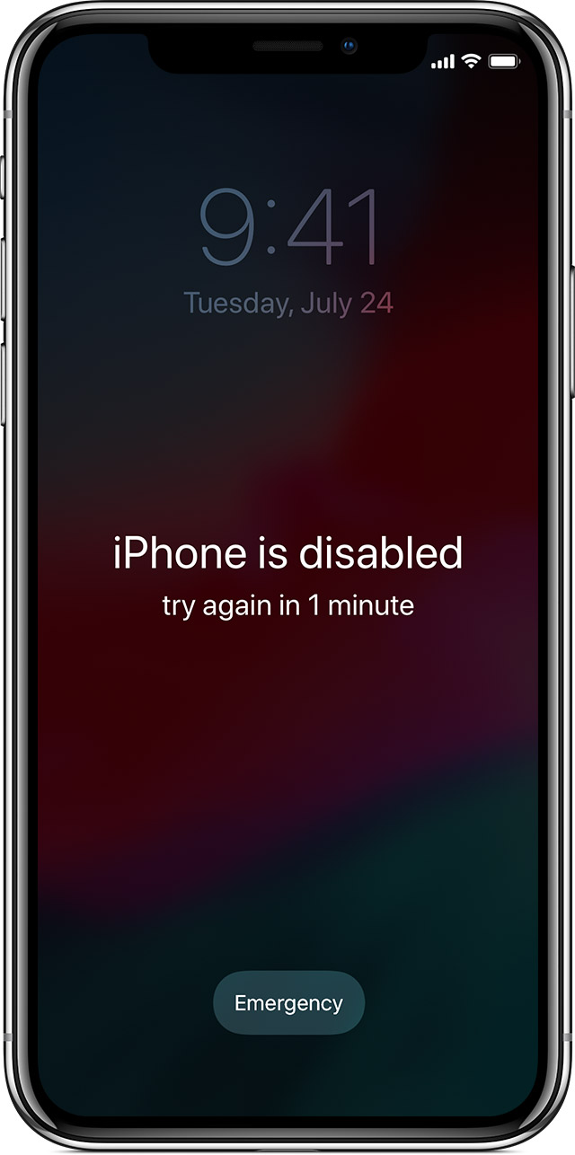 If you forgot the passcode for your iPhone  iPad  or iPod touch  or     iPhone is disabled screen