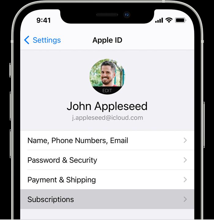 """Az iPhone képernyő az """"előfizetés"""" menüben a Beállítások alkalmazásban."""