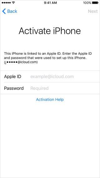 Activate iPhone screen