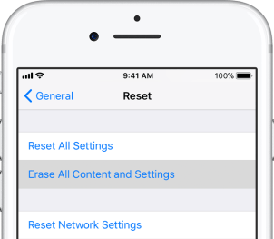 iPhone Erase All Content and Settings option