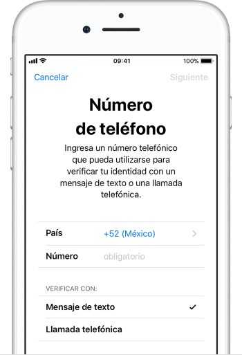 Pantalla del iPhone que solicita un número de teléfono de verificación
