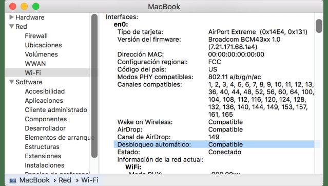 Pestaña de Wi-Fi en la ventana Información del Sistema que muestra la información de Desbloqueo automático: Compatible.