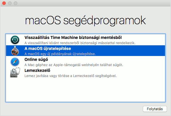 macOS Segédalkalmazások ablak