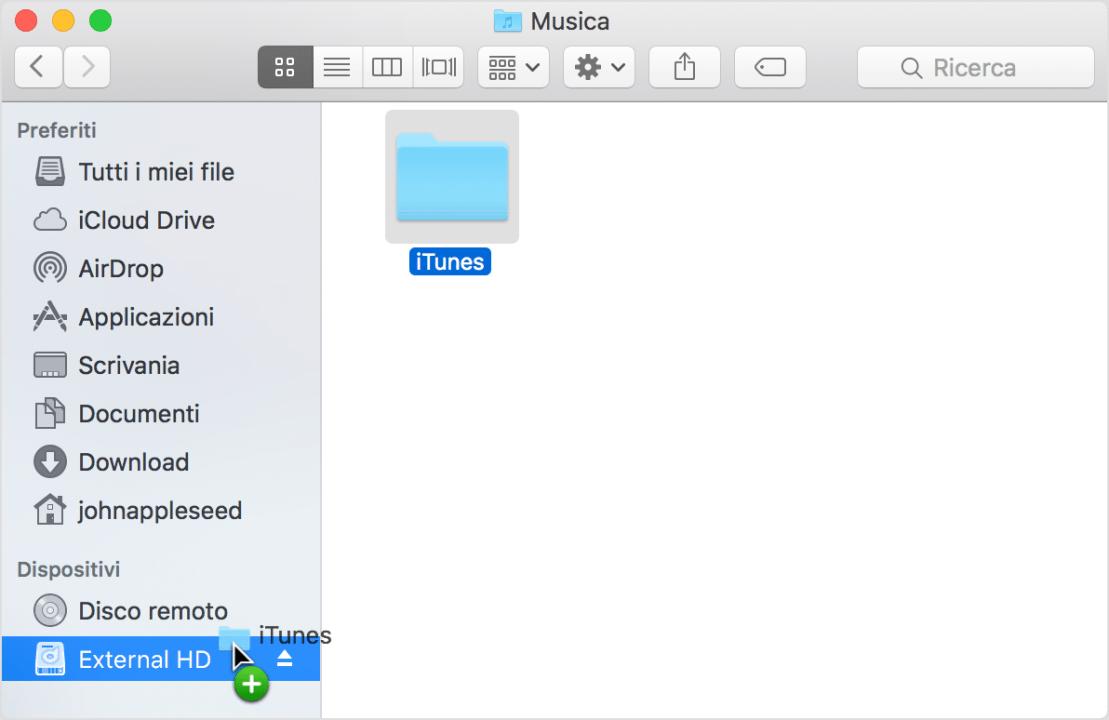 Trascinamento della cartella iTunes su un'unità esterna