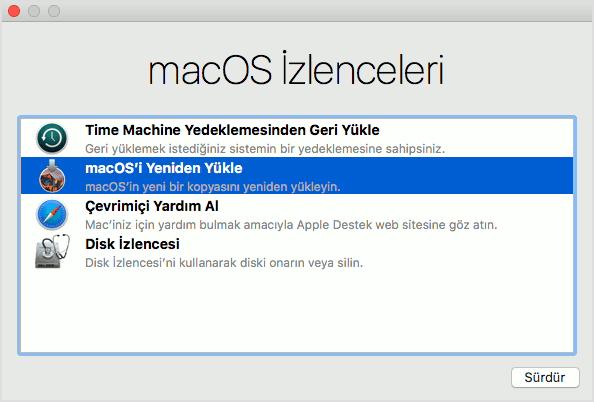 macOS İzlenceler penceresi