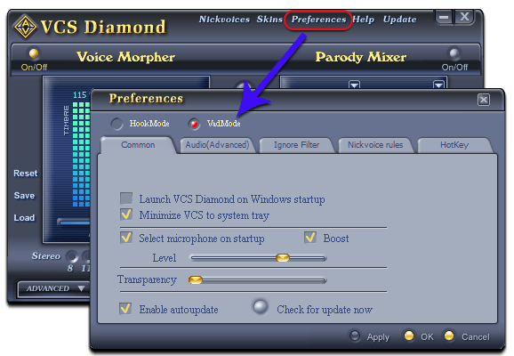 Fig 1: Voice Changer Software Diamond - Preferences