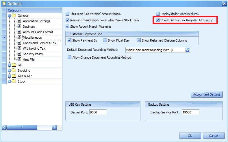 The Check Debtor Tax Register at Startup option