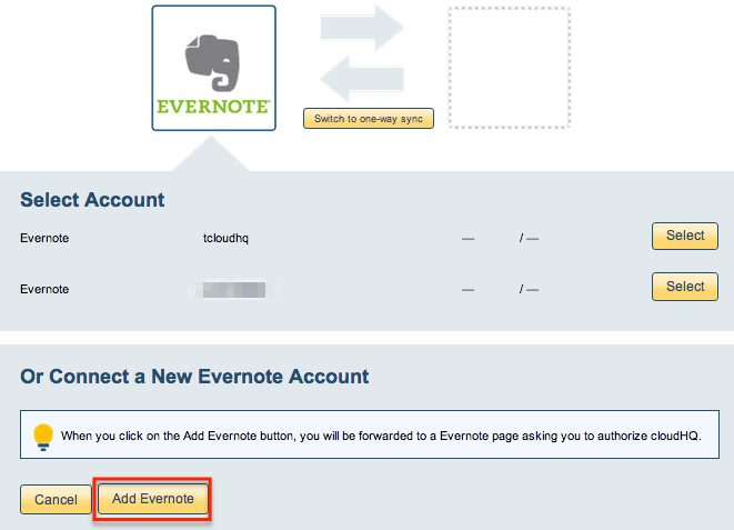 Evernote account
