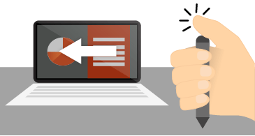 يد تحمل قلم وتضغط على الجزء العلوي منه بجانب شاشة كمبيوتر محمول لعرض شرائح