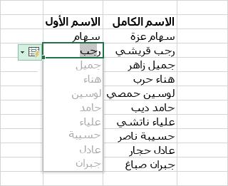 التحليل والتنسيق في Excel - تعبئة سريعة لعمود بيانات
