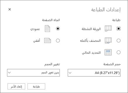 خيارات إعدادات الطباعة في إكسل للويب