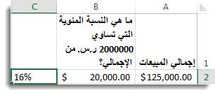 حساب النسب المئوية في إكسل Excel - مثال تحويل النسبة المئوية لقيمة معينة من إجمالي موجود إلى صيغة %