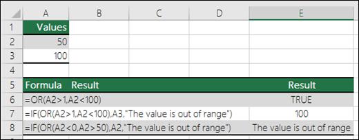 أمثلة على استخدام دالة OR مع دالة IF