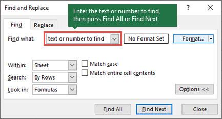 """شكل مربع الحوار """"بحث"""" - البحث عن نص وأرقام في ورقة عمل أو استبدالها"""