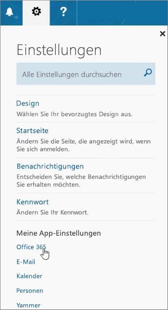 """Bereich """"Office 365-Einstellungen"""""""