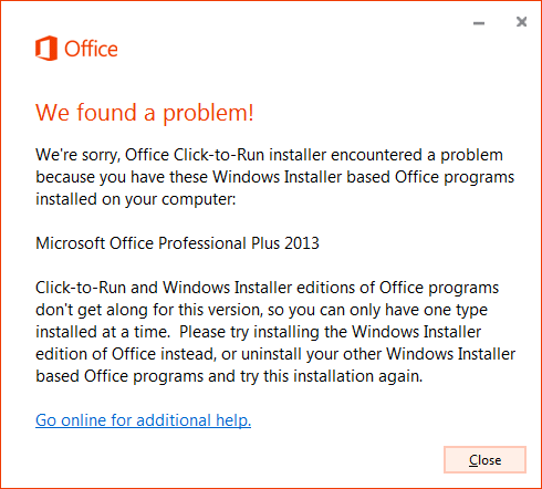Error when trying to install Click-to-Run over MSI install