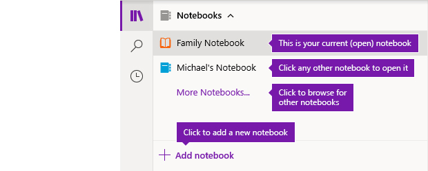 The Notebooks list in OneNote for Windows 10