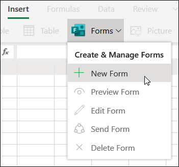 Insert New Form option in Excel for the web