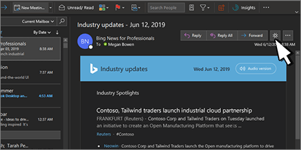 Inbox with Dark Mode turned on