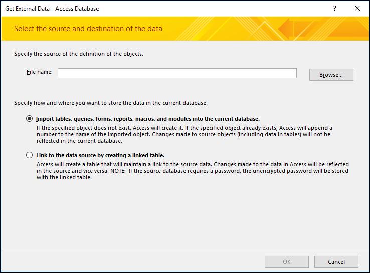 Screenshot of the get External Data - Access Database import wizard