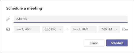 Schedule a meeting screen