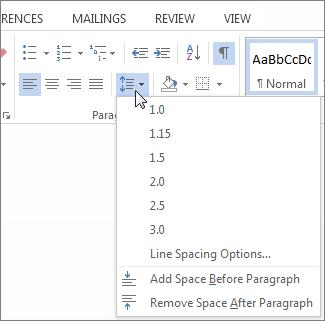 Line and Paragraph Spacing screen