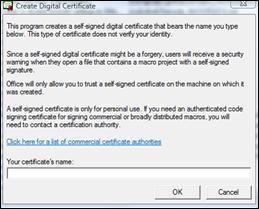 Create Digital Signature dialog
