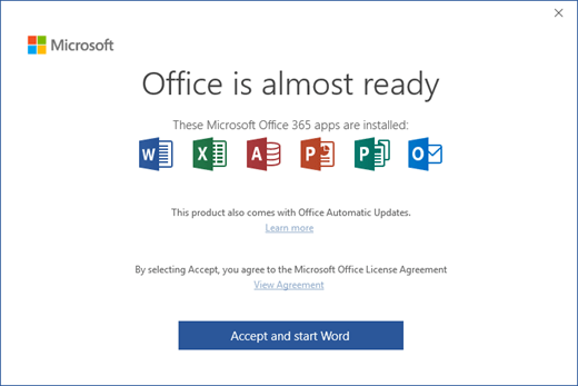 "Shows the ""Office is Almost Ready"" page where you accept the License Agreement and start the app"