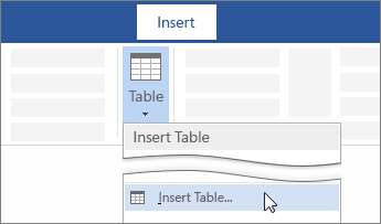 Insert Table option on the Word ribbon