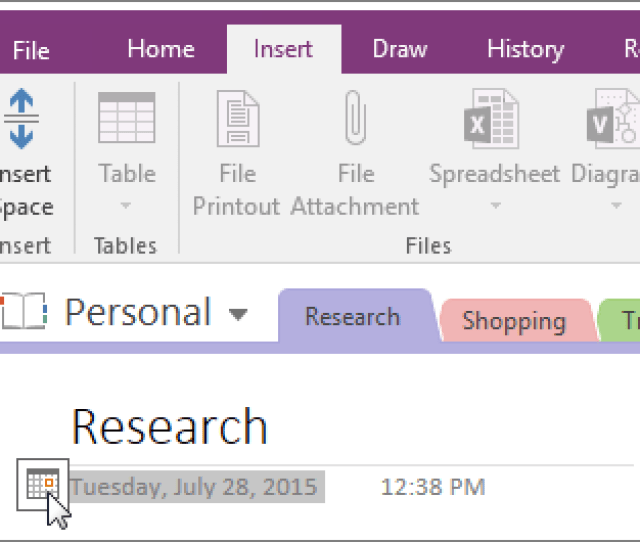 Screenshot Of How To Change The Date Stamp Of A Page In Onenote 2016