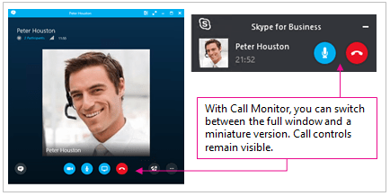 Screen shots of both full Skype for Business windows and minimized window