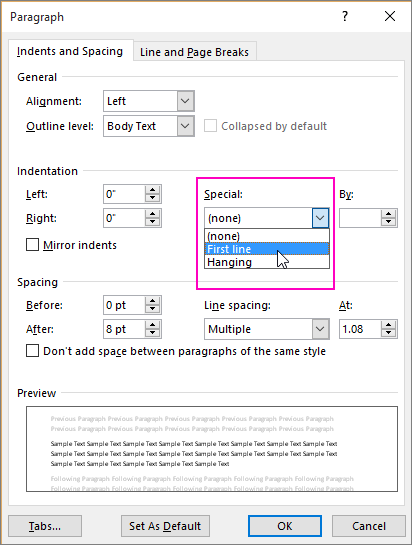 The First Line Indent option is highlighted in the Paragraph dialog box