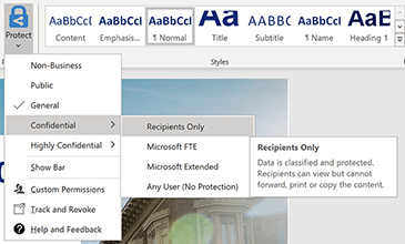 Image of Word document showing how to access permissions.
