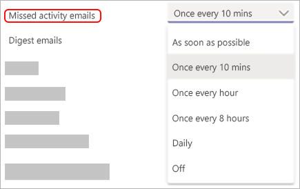 Image of email notification settings in Teams and the menu to choose how often an email is sent.