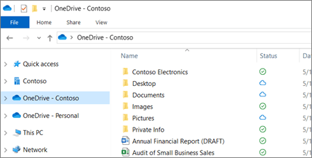 Screenshot of OneDrive for Business files in File Explorer