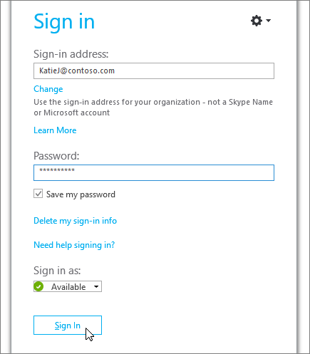 A screenshot showing where to enter your password on the Skype for Business sign in screen. - www.office.com/setup