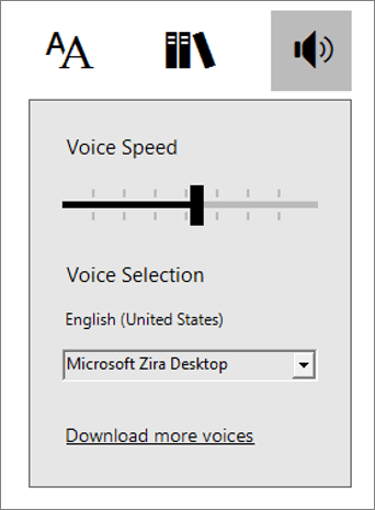 Voice Controls Menu in Immersive Reader,