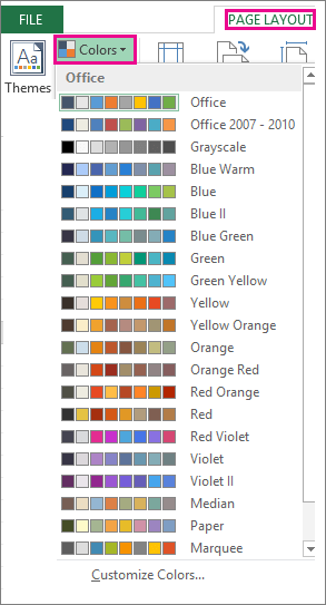 Theme Colors Gallery open via the Colors button on the Page Layout tab