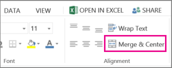 merge and center button on the ribbon