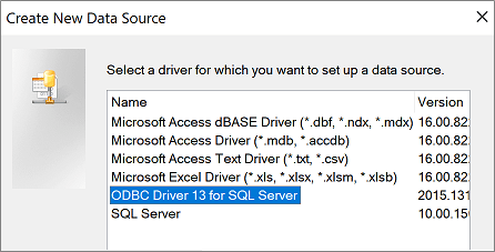 Create New Data Source dialog box