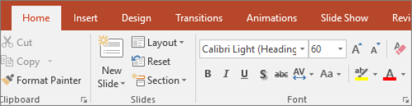 Shows the text highlighter on the ribbon in PowerPoint