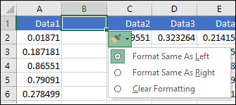 Image of the Insert Options button that's displayed after adding rows/columns.