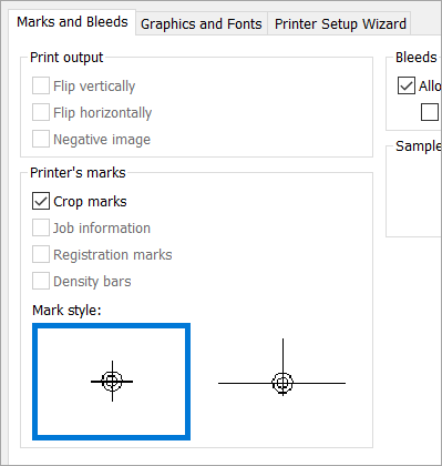 Select the Crop marks check box on the Marks and Bleeds tab