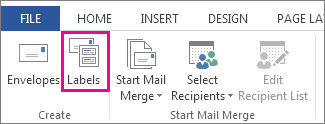 Create group on the Mailings tab