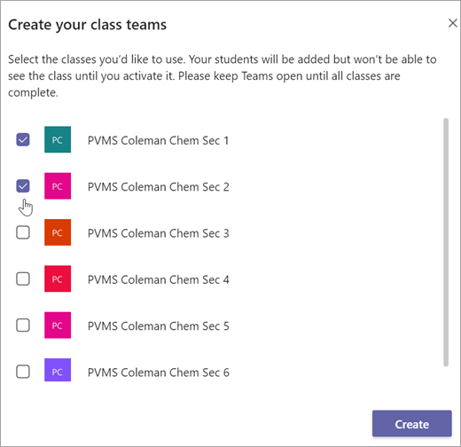 create a class team in microsoft teams